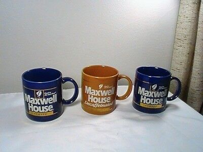 """Vintage Maxwell House Lot Of 3 Nos '' Good To The Last Drop""""  Coffee Mugs."""