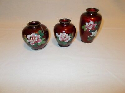Three Japanese Asian Cloisonne Basse Taille Ginbari Foil Red Vases
