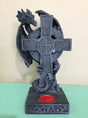 22Cm Black Dragon Candle Holder/statue - New Fantasy/gothic Giftware
