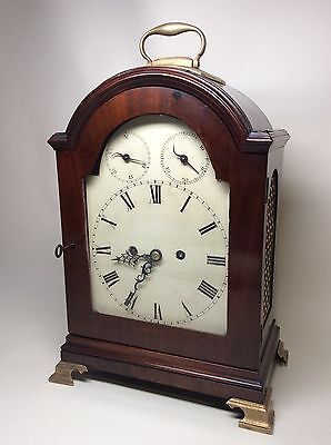 Late 18th Century Mahogany Painted Arch Dial Pad Top Fusee Verge Bracket Clock.