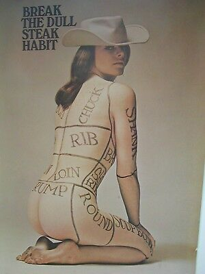 Vintage 1968 Cattle Baron Advertising Poster Original