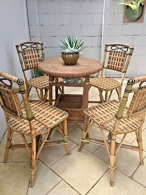 Vintage Seagrass Table 4 Wicker Cane Chairs Outdoor Patio Set or Eat In Kitchen