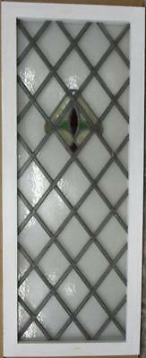 "LARGE OLD ENGLISH LEADED STAINED GLASS WINDOW Simple Geometric 18.5"" x 46.5"""