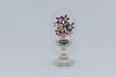 FRANKLIN MINT House of Faberge Imperial Glass Egg PINK/PURPLE FLOWERS & PEARLS