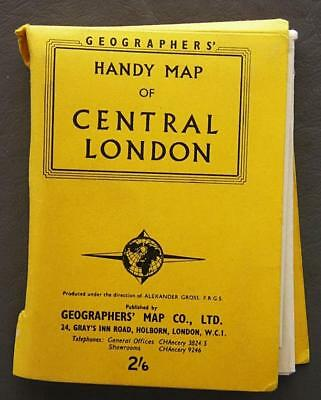 Original Vintage Geographer's Handy Pocket Map of Central London England