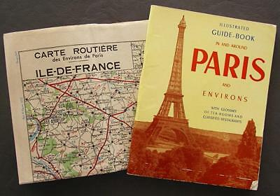 Original Vintage Paris France Illustrated Guide Book & Map Of Paris - Lot of Two