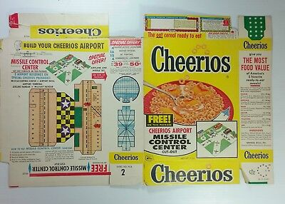 Vintage Cheerios Cereal Box Flat 1958 Airport Missile Control Center Cut Out 50s