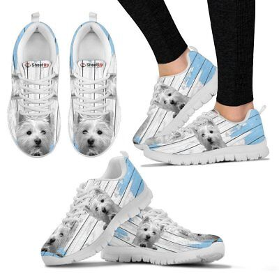 West Highland White Terrier (Westie) Blue White Print Sneakers For Women-Free Sh