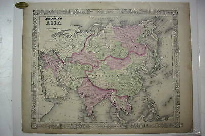"""1863 Hand Tinted MAP OF ASIA *Mounted*18"""" x 14"""" *Nice! *India+++"""