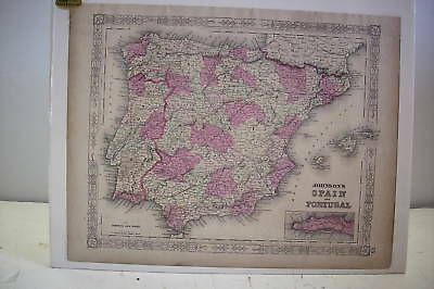 """1863 Hand Tinted MAP SPAIN PORTUGAL *Mounted*18"""" x 14"""""""