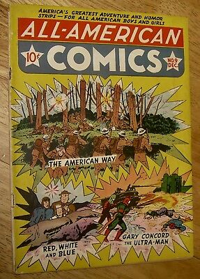 ALL-AMERICAN Comics #9 *scarce* DC Red White & Blue Scribbly ULTRA-MAN no rsv