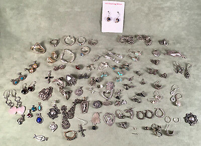 Sterling Silver Varied Jewelry Lot, Some Usable, Some Scrap 175.8 g