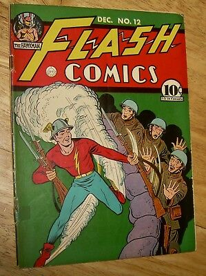 FLASH Comics #12 scarce DC WWII-era war cover/story HAWKMAN all-star action nr