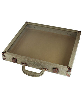 Portable Double Sized Burlap Covered Glass Top Display Case
