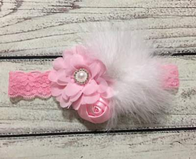 Easter Baby /Toddler/Girl Headband ,Pink and White with Feather Lace Headband