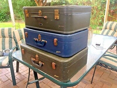 VINTAGE OLD FIBRE SUITCASES X 3. Decore, Display or Props