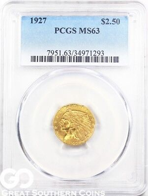 1927 PCGS Quarter Eagle, $2.5 Gold Indian PCGS MS 63 ** Very PQ, Free S/H!