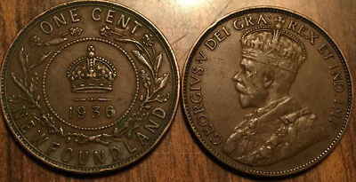 1936 Newfoundland Large 1 Cent Coin Penny G+ Buy 1 Or More Its Free Shipping!