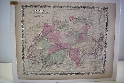 """1863 Hand Tinted Color Map SWITZERLAND *Mounted  18"""" x 14"""""""
