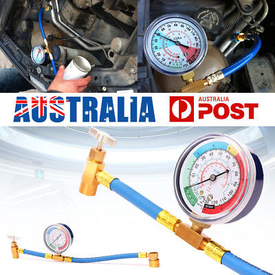 R134A AC Refrigerant Recharge Hose Can Tap + Gauge with Brass Fitting 340mm NEW