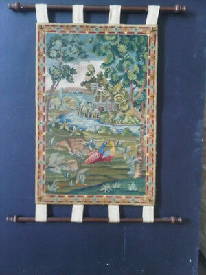 Vintage hand woven wall tapestry of old English rural scene
