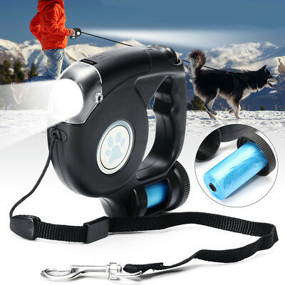4.5M Laisse de Chien Enrouleur Rétractable LED Lampe de poche Light Pet Walking
