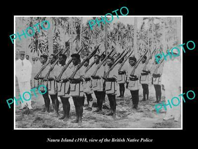Old Large Historic Photo Of Nauru Island, View Of The British Native Police 1918