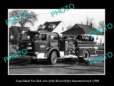 Old Large Historic Photo Of Long Island Ny, The Roosevelt Fire Department 1960