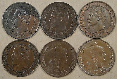 France 6 different Five Centimes 1856-1913 Better Group