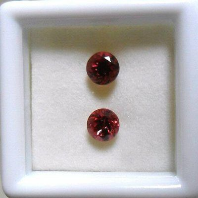 Pretty 1.65ct Raspberry Red Rhodolite Garnet Gemstone Pair Natural / Untreated