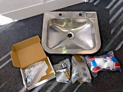 Stainless Steel Washbasin with taps, waste, support bracket and bottle trap