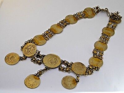Very Ornate Antique / Vintage White Metal Eastern Coin Necklace