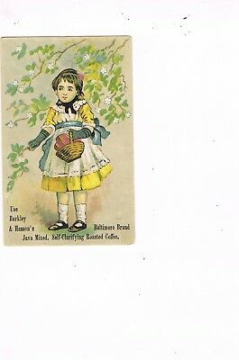 VICTORIAN ADVERTISING / TRADE Card     BARKLEY & HASSON'S ROASTED COFFEE