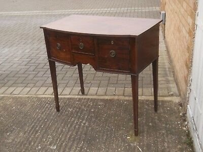 antique victorian small mahogany sideboard , bow front
