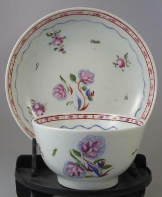 NEWHALL? TEABOWL+SAUCER c.1790 UNSUAL PATTERN - ENGLISH