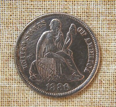 1886-S Seated Liberty Dime - About Uncirculated Details - Cleaned