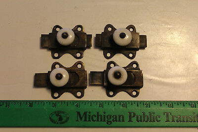 4  MATCHING CABINET LATCHES w/ NO KEEPERS Sliders White Porcelain Knobs