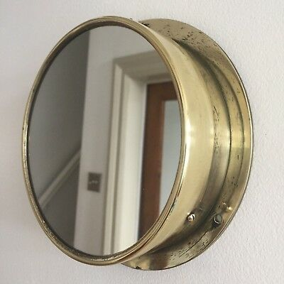 Vintage Round Brass Mirror Porthole Converted Pressure Gauge Circular Small 18cm
