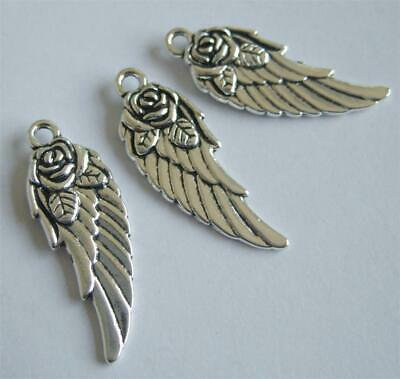 10 TIBETAN SILVER ANGEL WINGS 31mm FEATHERED LARGE C124