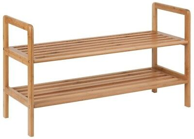 Honey Can Do 2 Tier 8 Pair Bamboo Shoe Shelf Organizer Home Closet Storage Multi