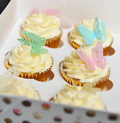 24 PreCut 3D Mixed Colour Edible Wafer Paper Butterfly Cake Toppers - 4 colours