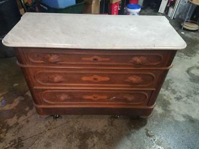 Antique Marble Top 3-drawer Dresser With 4th Hidden Drawer Decorative Woodwork