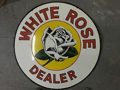 PORCELAIN WHITE ROSE SIGN SIZE 30 Inches