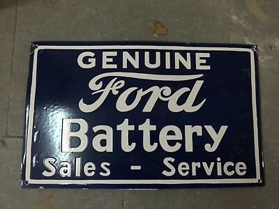"Porcelain FORD BATTERY Sign SIZE 23"" X 15"" INCHES"