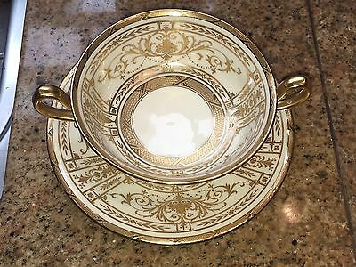 Minton For Tiffany New York Raised Gold Encrusted Cream Soup Bowl