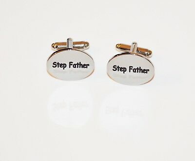 Stepfather Oval Engraved Cufflinks