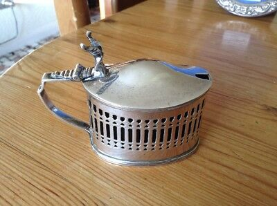 Solid Silver Victorian Mustard Pot With Blue Glass Liner