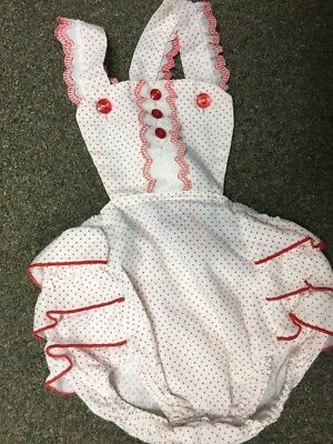 Vintage Baby Clothes Infant Girls  24 Months Sun Suit One Piece Romper Red Dots