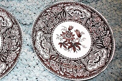 Spode Archive Collection Georgian Series FLORAL (2) Brown Dinner Plates