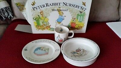 Peter Rabbit Nursery Set By Wedgwood England 3 Pc New In Box